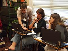 Aaron Sams working with teachers at FlipCon13