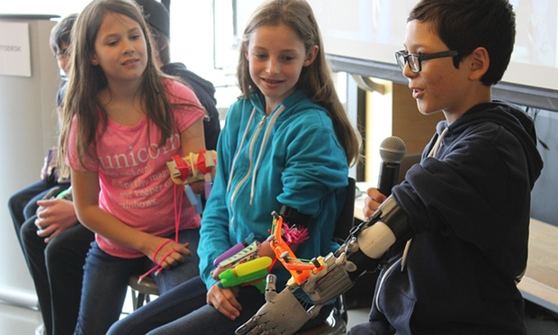 Rather than replace a hand, the Superhero Cyborg project encouraged children to use 3D design and printing tools to create a unique prosthetic that gave then a new superpower - like shooting glitter, carrying a heavy bag or holding the reins while horse riding Photograph: Sarah O'Rourke/Autodesk